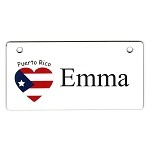 Puerto Rico Heart Flag Crate Tag Personalized With Your Dog's Name